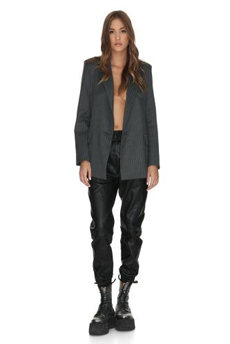 Grey Oversized Wool Blazer - PNK Casual
