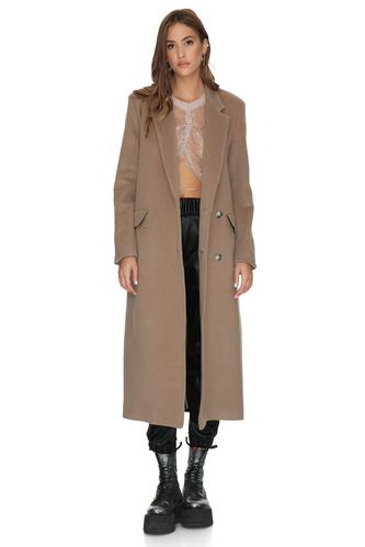 Soft Brown Oversized Midi Coat - PNK Casual