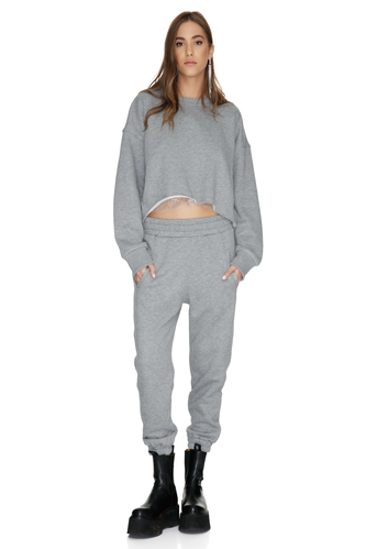 Grey Track Pants With Elasticated Waistband - PNK Casual