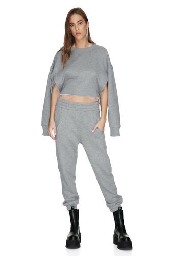 Grey Cotton Oversized Hoodie - PNK Casual