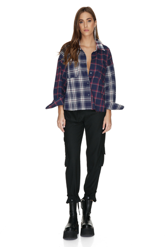 Blue Checkered Cotton Oversized Shirt - PNK Casual