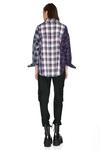 Blue Checkered Cotton Oversized Shirt