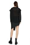 Black Oversized Viscose-Wool Blended Shirt
