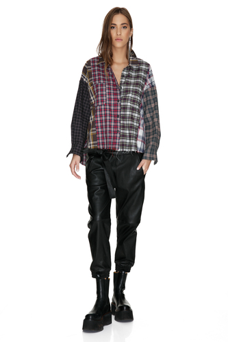 Checkered Cotton Oversized Shirt - PNK Casual