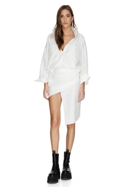 White Cotton Asymmetrical Mini Skirt