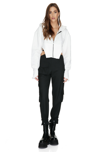 White Cotton Cutout Short Hoodie - PNK Casual