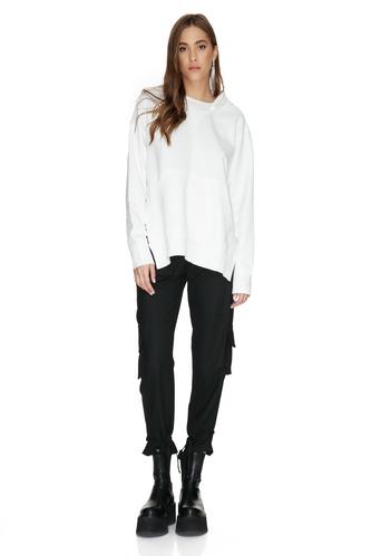 White Cotton Cutout Hoodie - PNK Casual