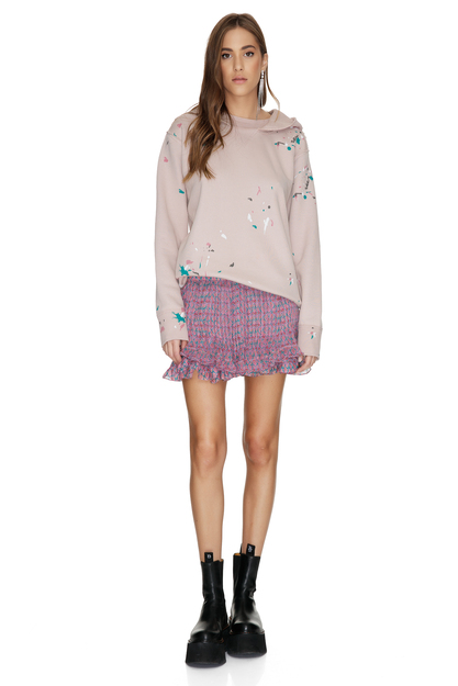 Mauve Floral Printed Silk Shorts