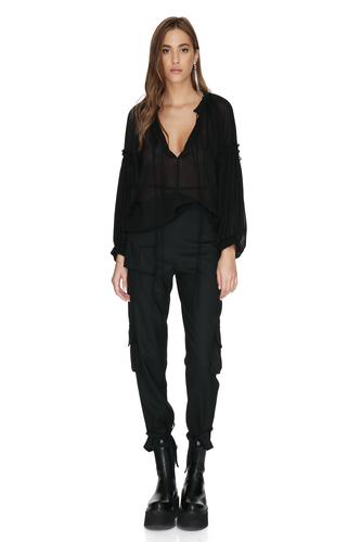 Black Viscose-Wool Blended Shirt - PNK Casual