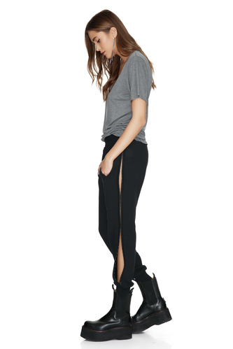 Black Pants With Side Details - PNK Casual