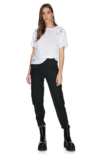 White T-Shirt Printed With Printed Colors - PNK Casual