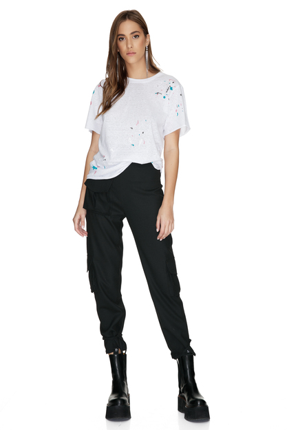 White T-Shirt Printed With Printed Colors