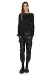 Cotton Rib Black Oversized Collar Top