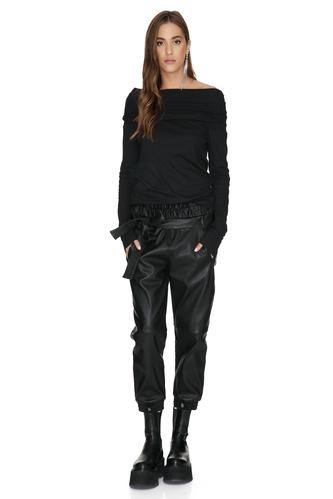 Cotton Rib Black Oversized Collar Top - PNK Casual