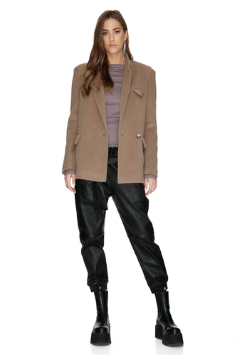 Soft Brown Wool Jacket - PNK Casual