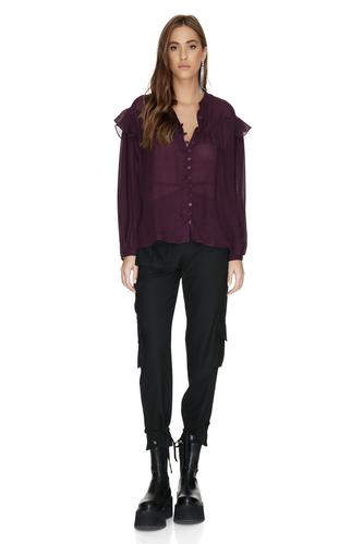 Burgundy Oversized Viscose-Wool Blended Shirt - PNK Casual