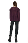 Burgundy Oversized Viscose-Wool Blended Shirt