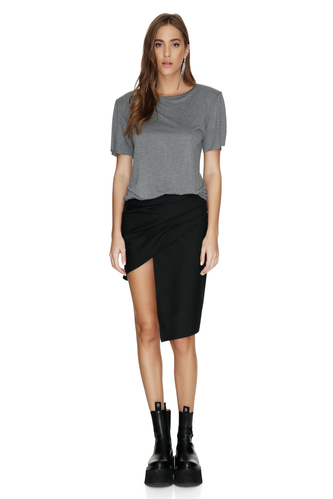 Grey Top With Oversized Shoulders - PNK Casual
