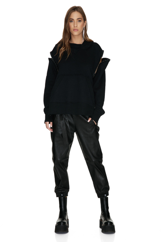 Black Oversized Hoodie With Side Details - PNK Casual