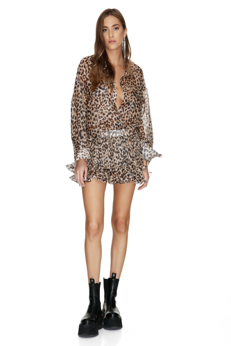Leopard Printed Silk-Linen Pleated Shorts - PNK Casual