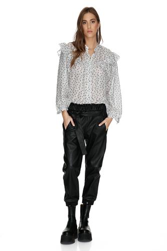 White Silk-Viscose Shirt With Ruffles - PNK Casual