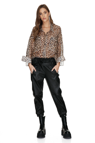 Leopard Printed Linen-Silk Shirt With Front Pockets - PNK Casual