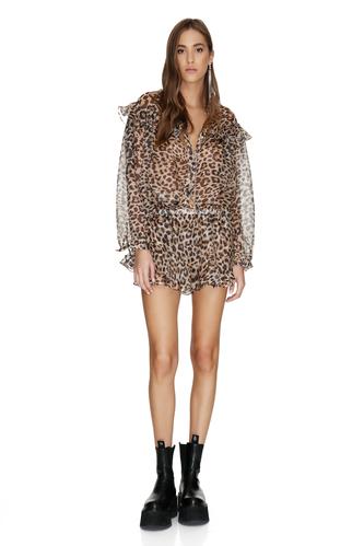 Leopard Printed Linen-Silk Shirt With Ruffles - PNK Casual